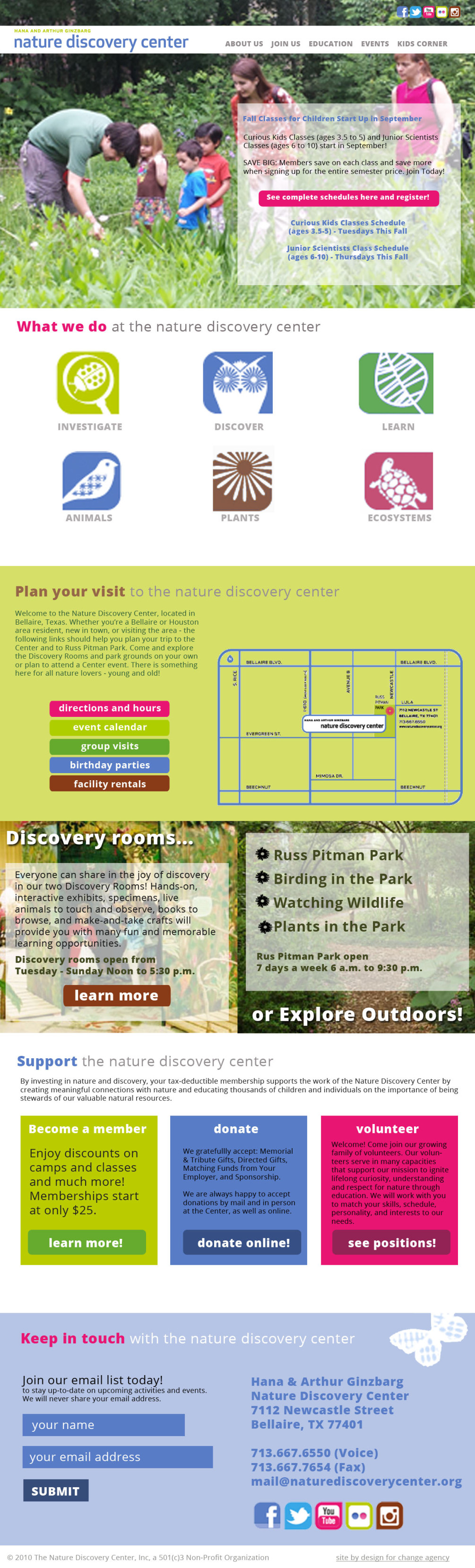 nature discovery center homepage mockup