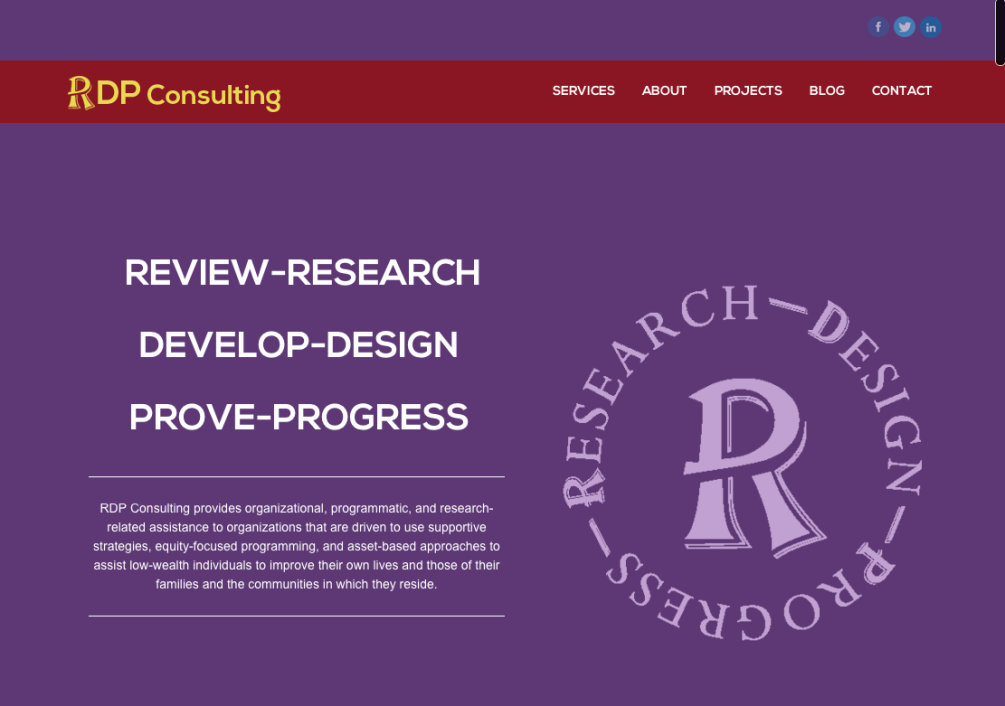 homepage design for r-d-p-consulting.com