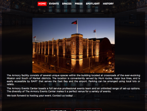 San Francisco Armory Web Design Wordpress