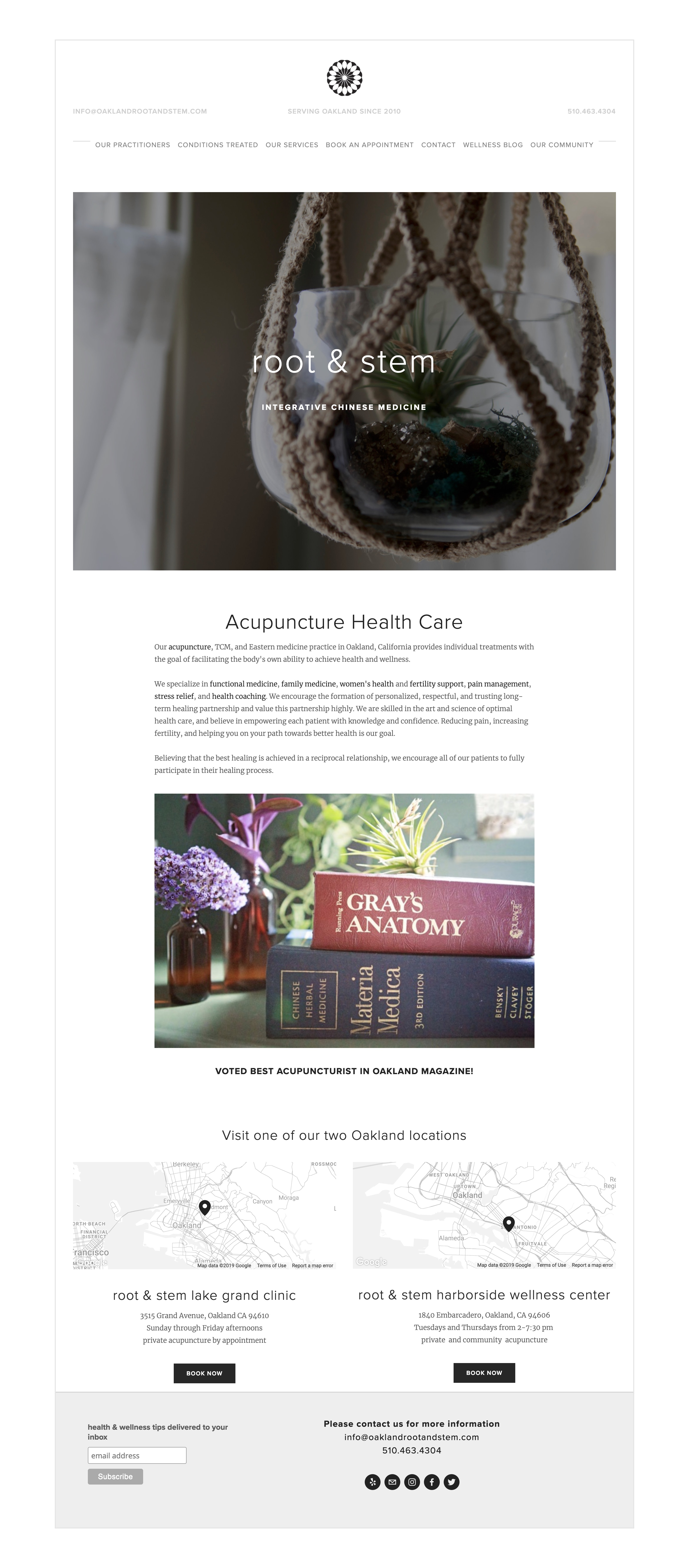 acupuncture oakland wellness clinic website design