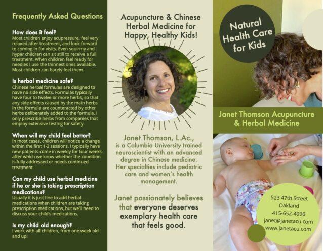 pediatric acupuncture brochure design